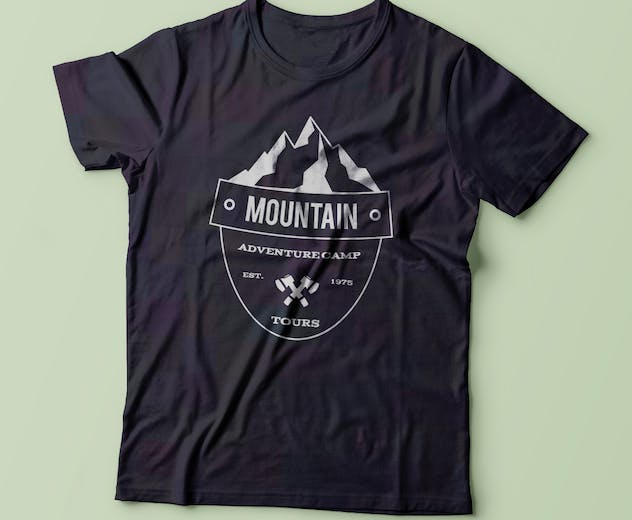 Retro Camping Insignia, Mountain Vector Logo Label - product preview 4