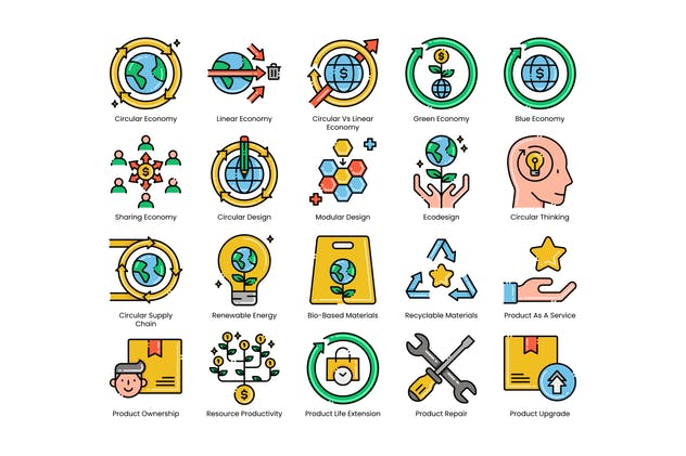 80 Circular Economy Line Icons - product preview 1