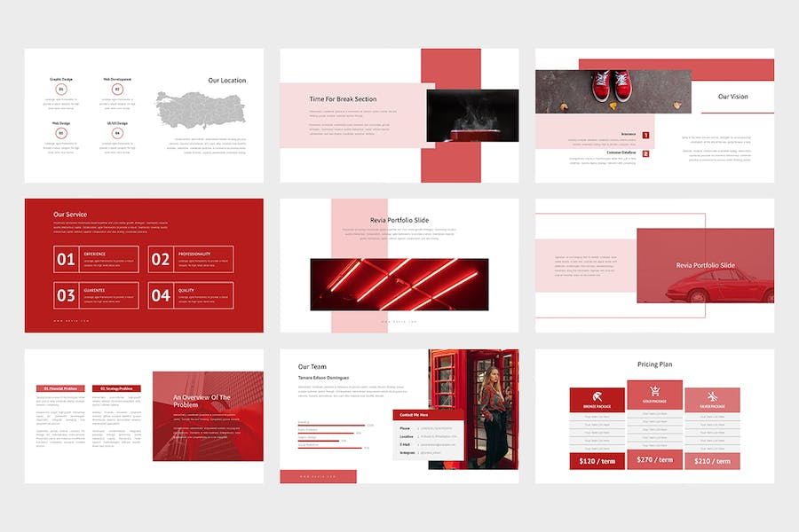 Revia : Red Gradient Color Tone Keynote - product preview 5