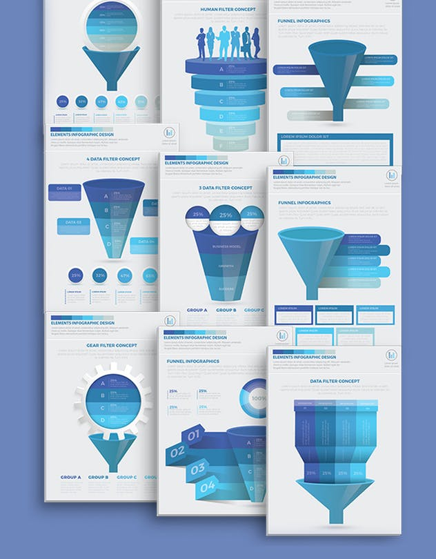 Blue Filter Funnel Infographics - product preview 2