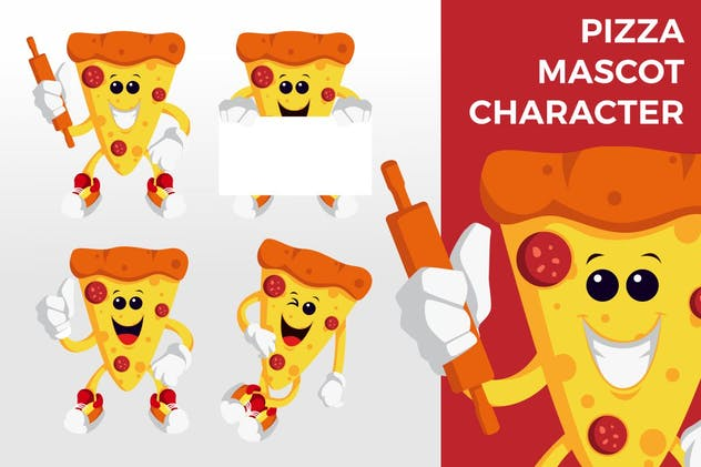 Pizza Mascot Character Set - product preview 2