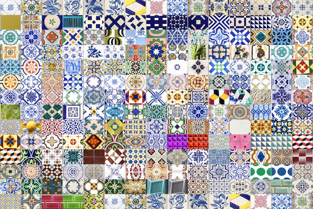200 Seamless Portugal Azulejo Tiles - product preview 1