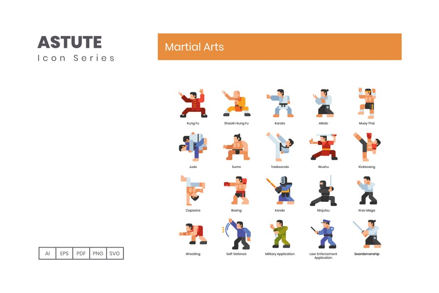 70 Martial Arts Icons | Astute Series - product preview 1