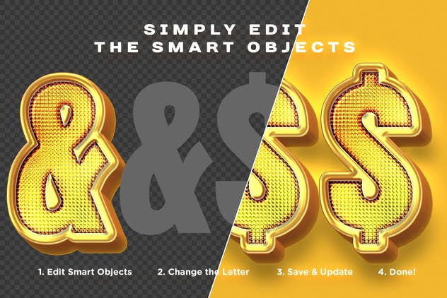 Shiny Gold Realistic 3D Text Effects - product preview 2