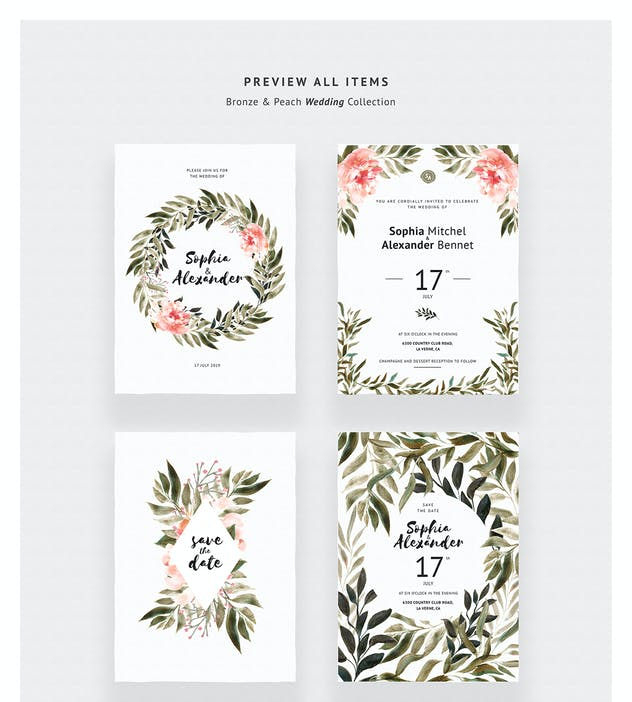 Bronze & Peach Wedding Invitations - product preview 2