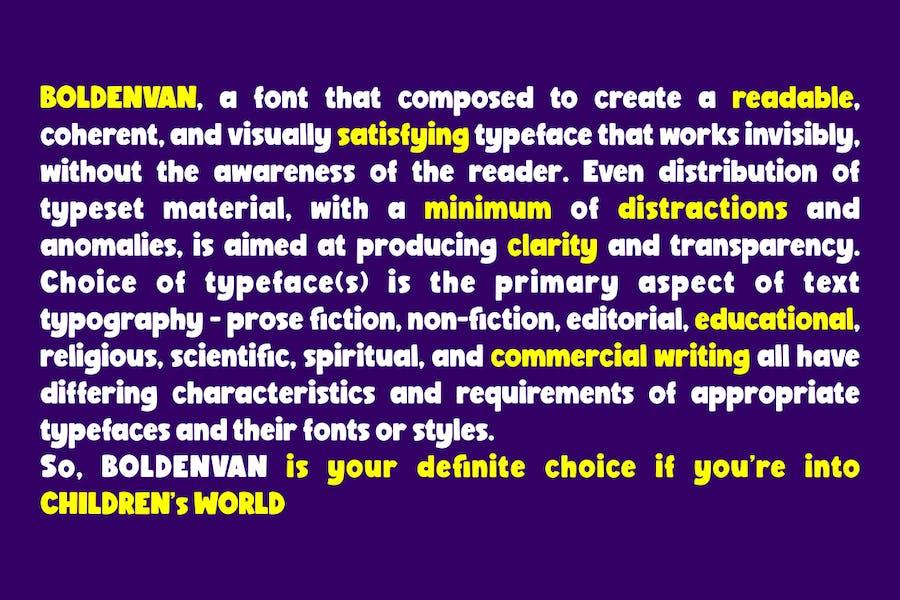 Preview image 4 for Болденван - круглолицый детский шрифт