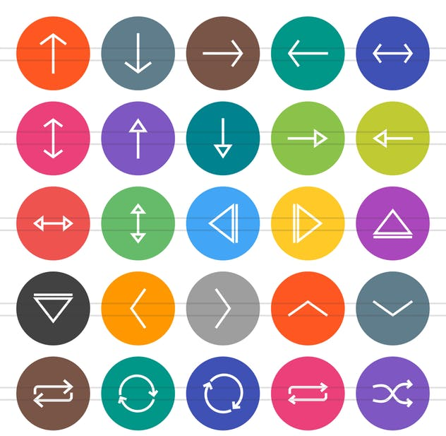 50 Arrows Flat Round Icons - product preview 1