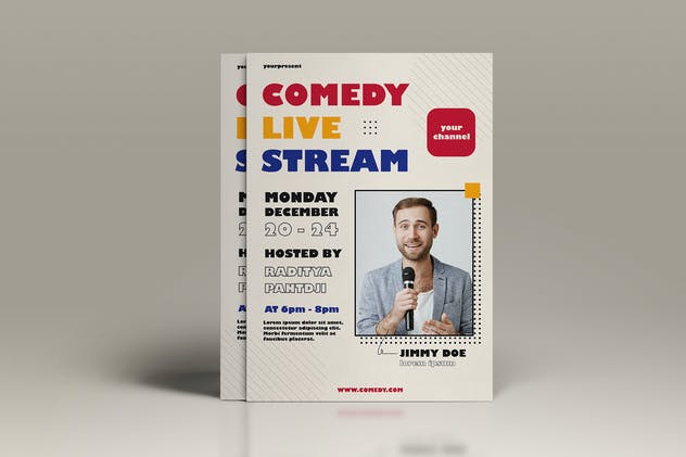 Comedy Live Stream Flyer Template Vol. 01 - product preview 1