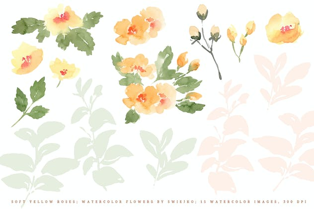 Soft Yellow Roses, watercolor flowers - product preview 1