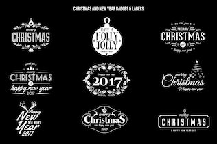 Thumbnail for Christmas and New Year Badges & Labels