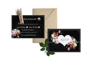 Thumbnail for DIY Watercolor Wedding Invitation PSD Template