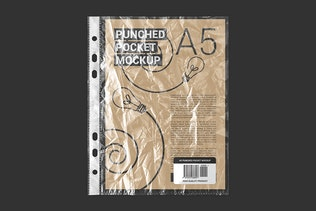 Punched Pocket For A5 Paper Size Mockup