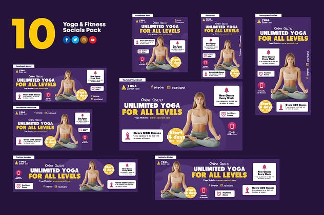 Yoga & Fitness Socials Pack - product preview 1