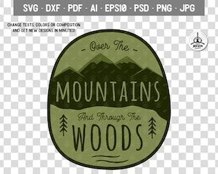 Vintage Hiking Logo Patch / Retro Mountains Badge