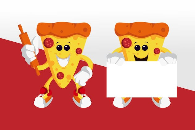 Pizza Mascot Character Set - product preview 1