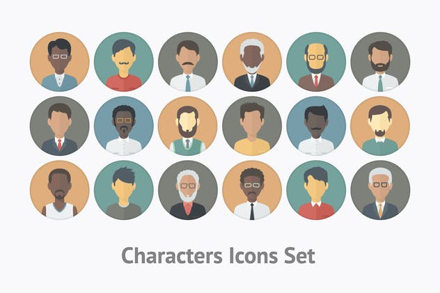 Flat Characters Icons Set - product preview 1