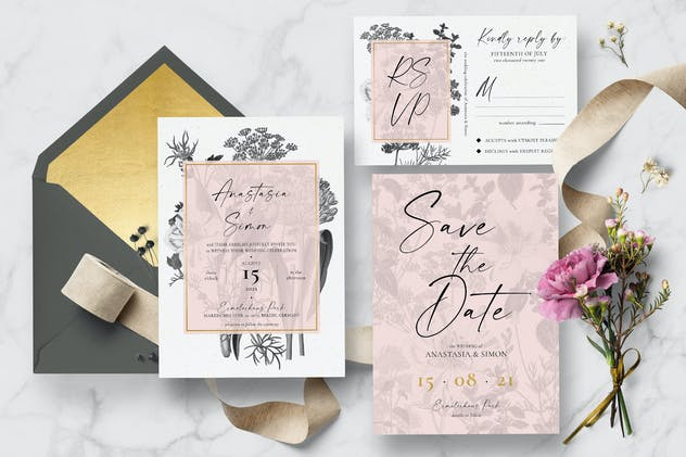 Black & White Vintage Floral Wedding Suite