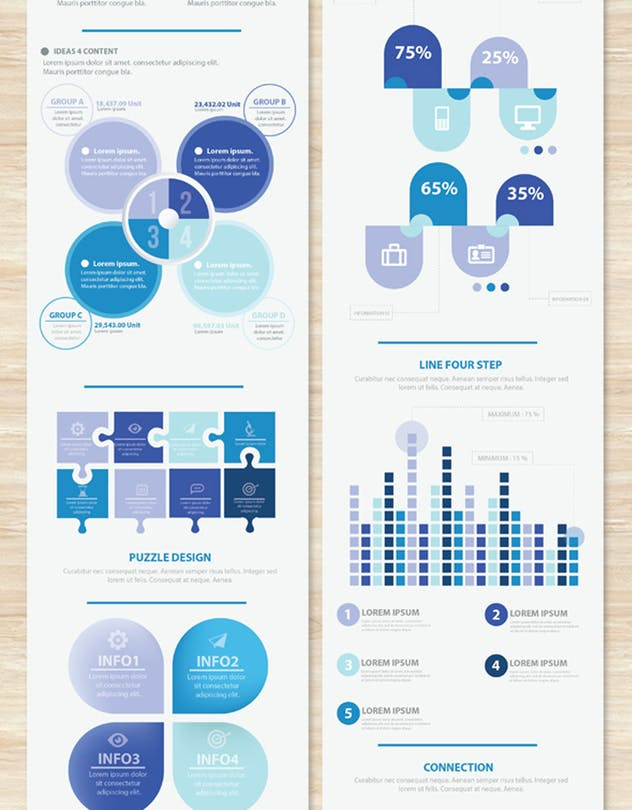 Big Blue Infographic Elements Design Scheme V.5 - product preview 3