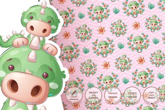 Cute crocodile family - seamless pattern