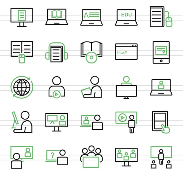 50 E Learning Green & Black Line Icons