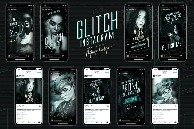 Glitch Instagram Templates - product preview 6