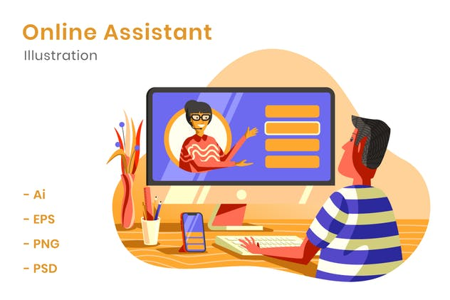 Online Assistant Illustration - product preview 1