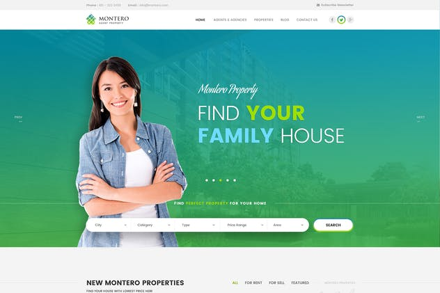 Montero - Real Estate PSD Template