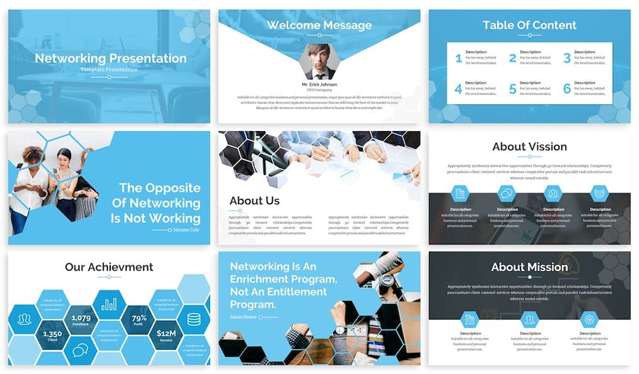 Hexsa - Networking Google Slides Template - product preview 1