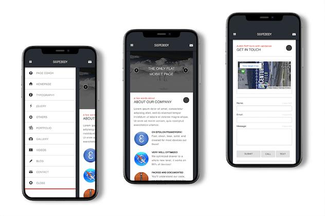 Swipebody | Mobile Website Template