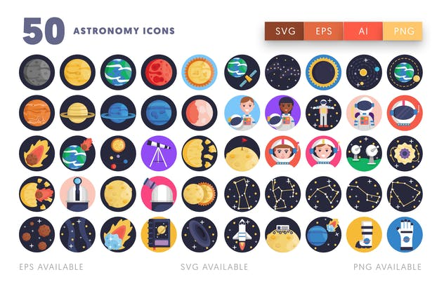50 Astronomy Icons - product preview 1
