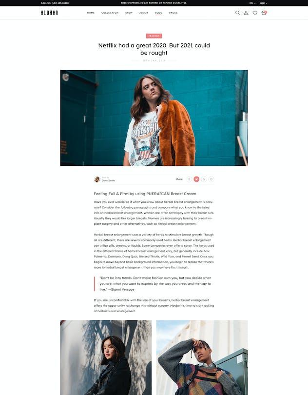 Alohan | Minimalist Fashion PSD Template