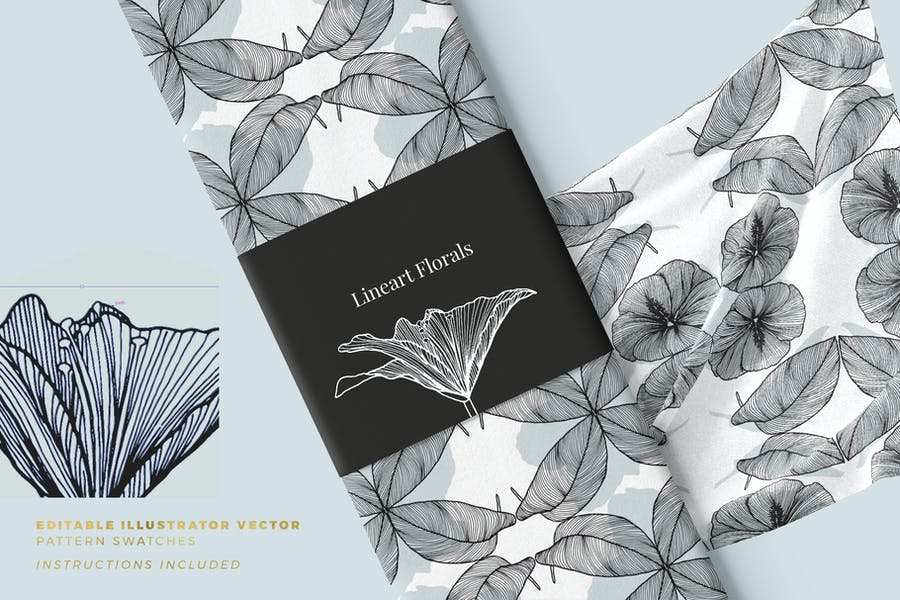 Lineart Floral Patterns & Elements - product preview 2