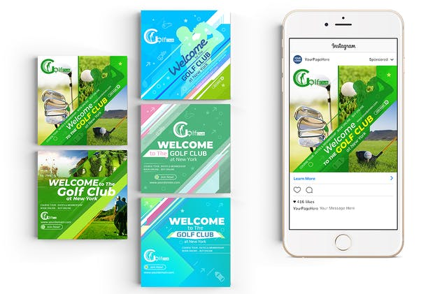 10 Instagram Post Banner-Golf - product preview 2