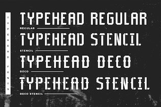 Thumbnail for Typehead Typeface Industrial Stencil Font