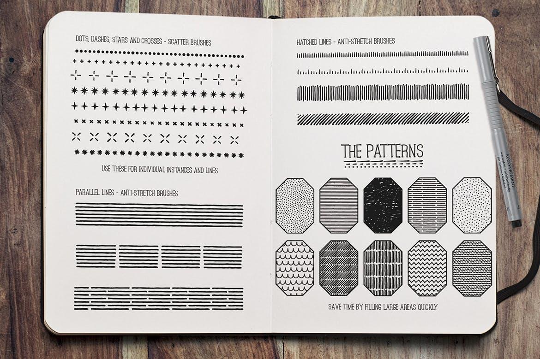 Illustrator细眼线笔刷和图案Fine Liner Brushes & Patterns插图6