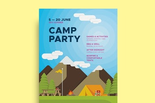 Thumbnail for Camp Party Poster Template