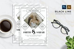 Miniature pour Black Line 2 Mariage   Invitation