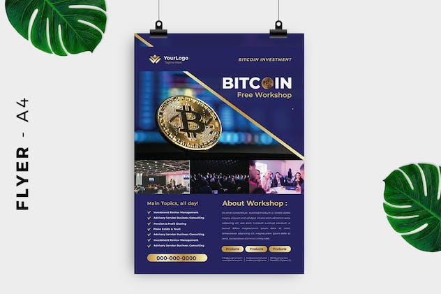 Bitcoin Cryptocurrency Mining Flyer - product preview 1
