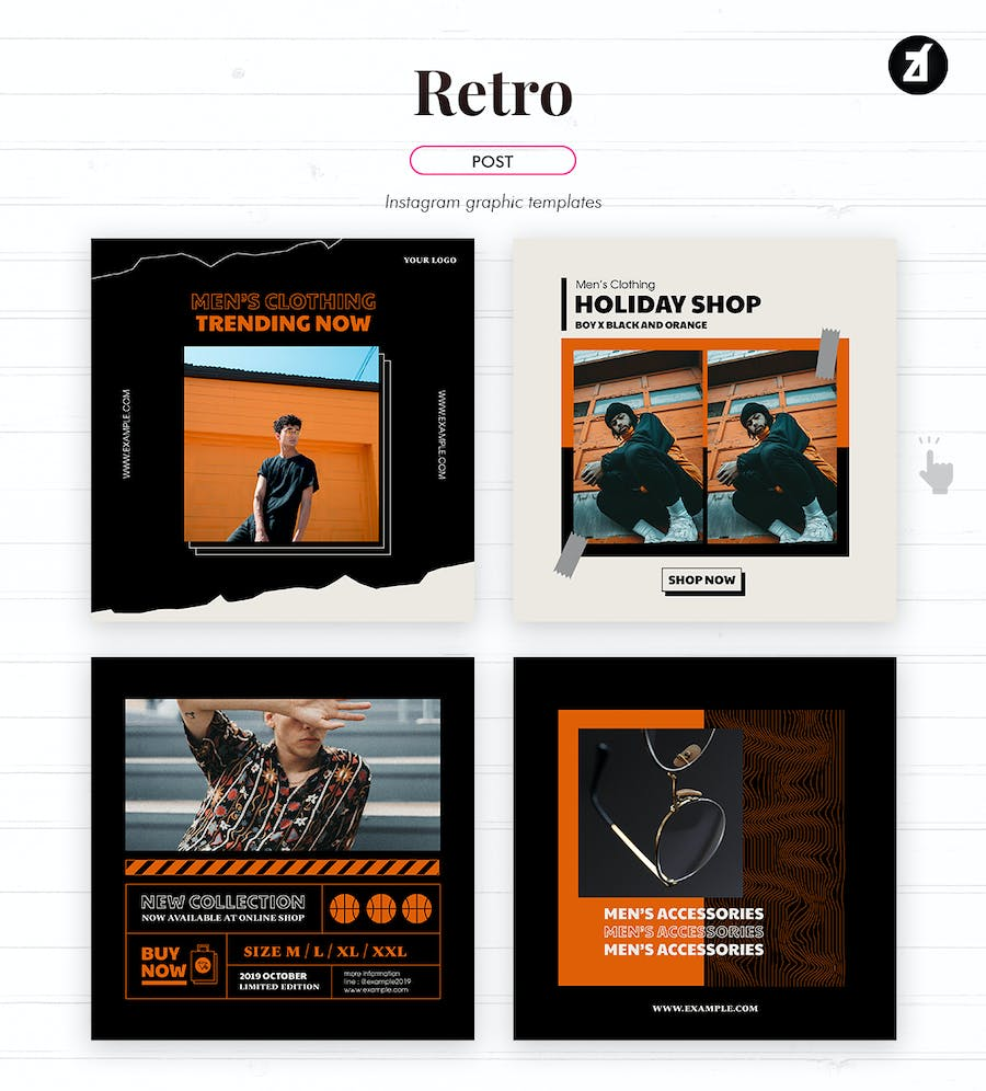 Retro social media graphic templates - product preview 1