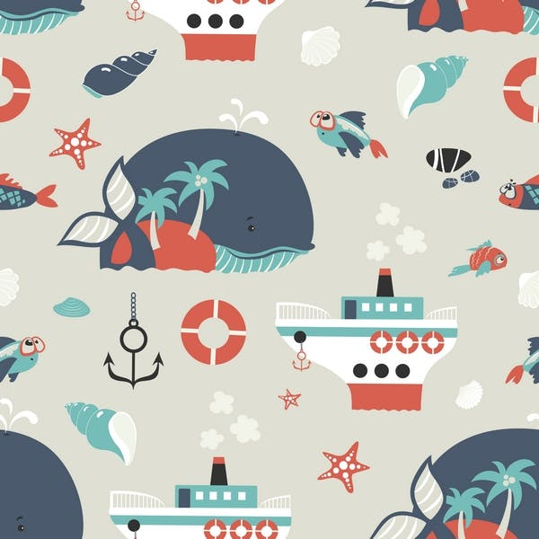 Seamless vector background with cute sea objects - product preview 1
