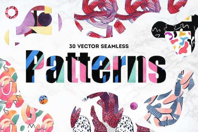Vibrant Watercolor Patterns - product preview 1