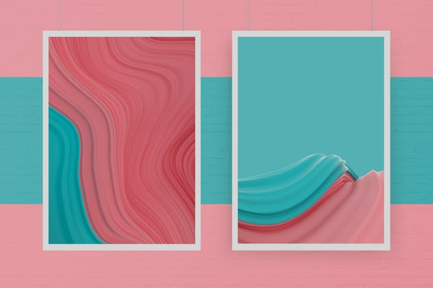 Abstract 3D Wavy Striped Backgrounds - product preview 3