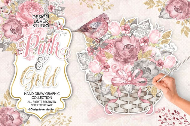 Watercolor PINK and GOLD design - product preview 1