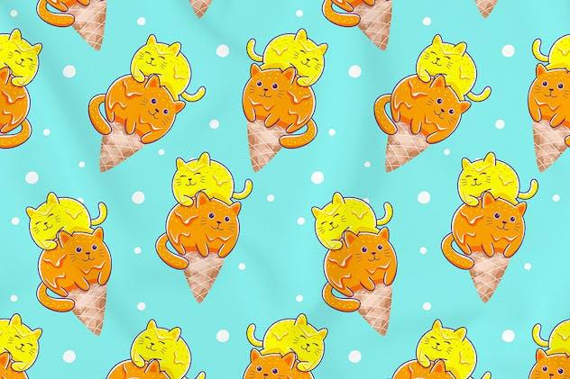 Cats Ice Cream Seamless Pattern Vol. 2