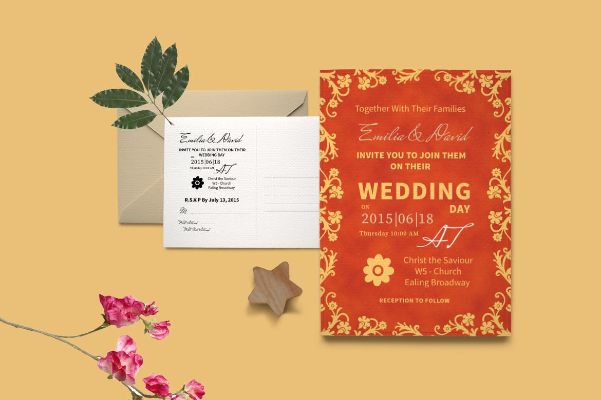 DIY Peonies Wedding Invitation PSD Template by Squirrel92 on Envato ...