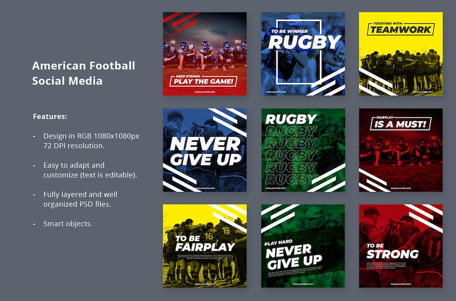 Social Media Kit American Football - product preview 2