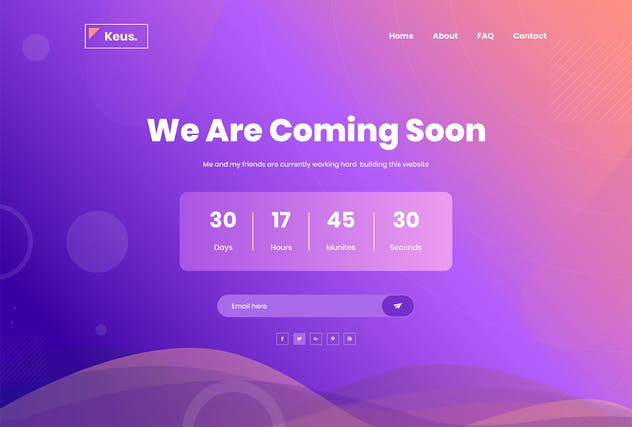 Keus - Creative Coming Soon HTML5 Template - product preview 5