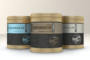 Round Tin Cans Vol.1 Packaging Mock Ups