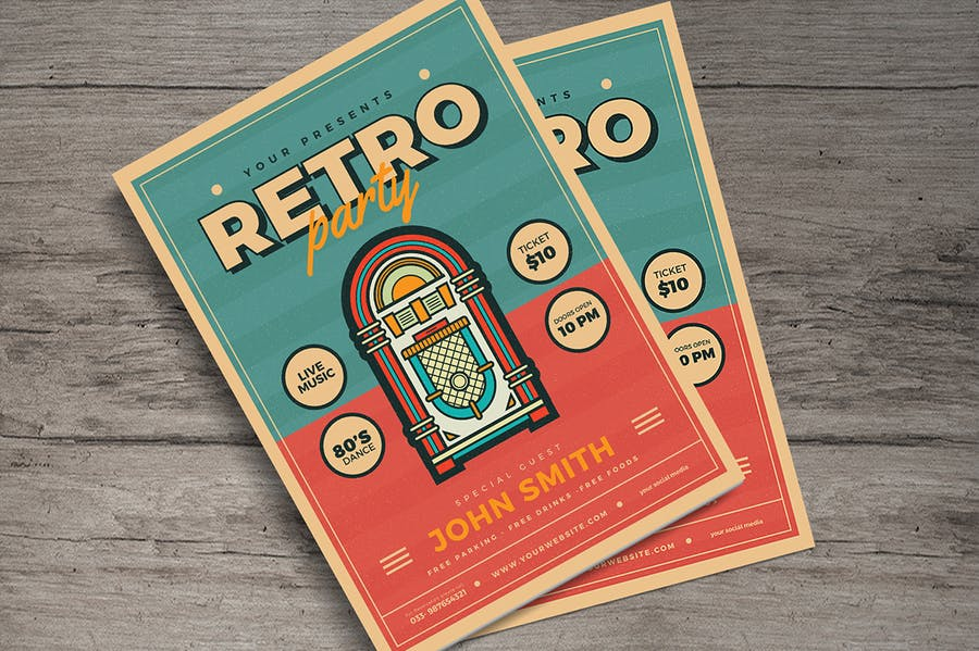 Retro Jukebox Party Flyer - product preview 3