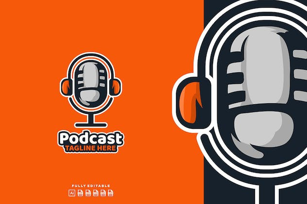 Podcast Mic Broadcast Logo - product preview 1